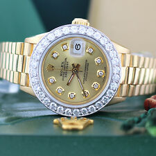 Rolex President Ladies Yellow Gold 26MM Watch 69178 with Diamond Bezel and Dial