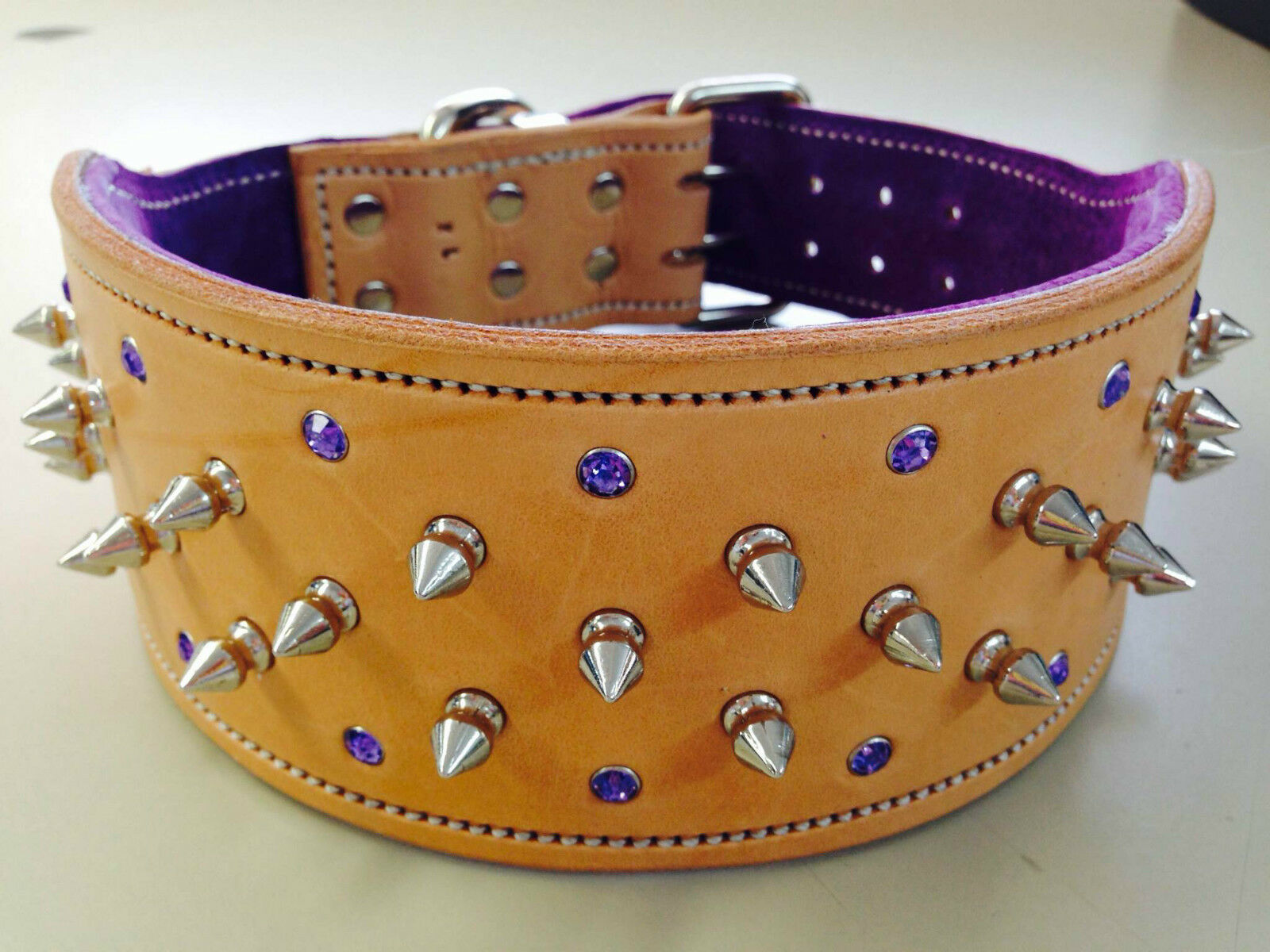 Large Natural & Purple Studded Suede Leather Dog Collar & Purple Crystals Nickel