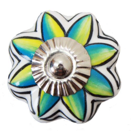 Möbelknopf Keramik Möbelgriff Möbelknöpfe Griffe Tür Möbelknäufe Weiß Türkis 194