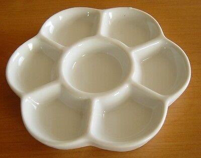 Porcelain Ceramic Daisy Palette 7 Well Artist All Media Paint Mixing Dish ART323