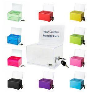 Adir Acrylic Suggestion Box 637 Donation Ballot Box W/ Lock Multiple Colors