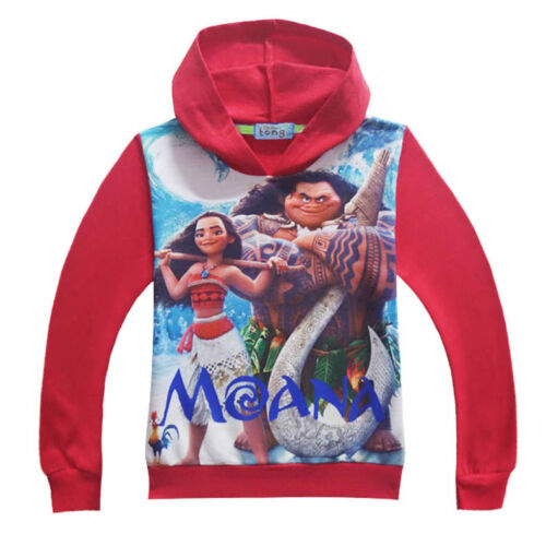 Unisex Childrens Kids Girls Boys Moana Maui Red Blue Hoodie Sweatshirt O8