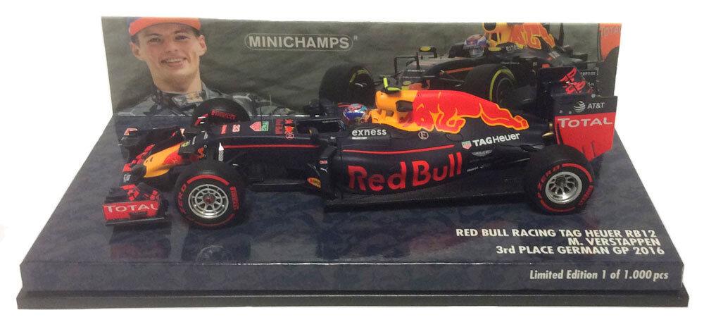 Minichamps rouge Bull RB12 3rd GERMAN GP 2016-Max Verstappen échelle 1 43
