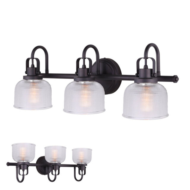 Oil Rubbed Bronze 3 Bulb Vanity Bath Light Bar Wall Fixture Clear Glass Globes