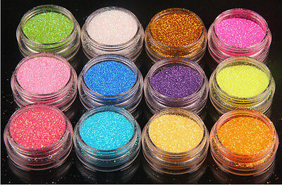 12 PCs Mix Color Glitter Dust Powder Set for Nail Art Acrylic Tips Decoration xp