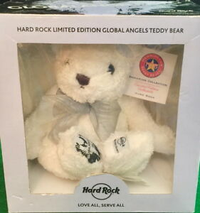 Hard-Rock-Cafe-2007-GLOBAL-ANGELS-Charity-White-Teddy-Bear-with-Wings-in-Box