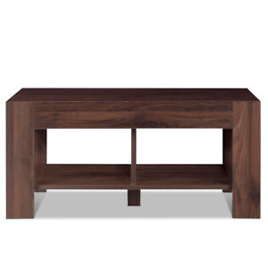 Details about 2-Tier Wood Side End Coffee Table Modern w/ Storage Shelf  Living Room Walnut