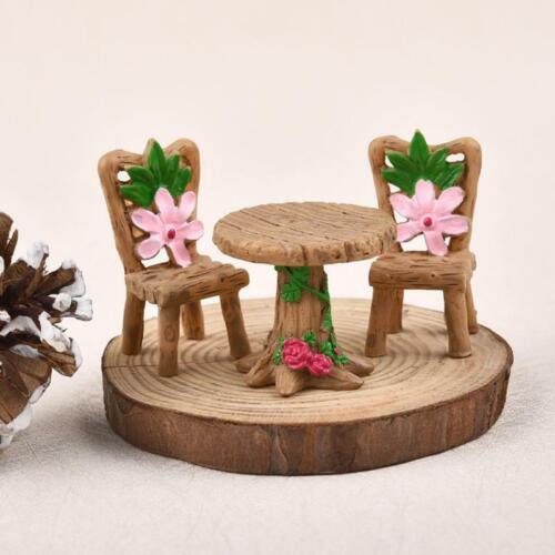 3pcs//Set Table Chair Resin Craft Micro Landscape Ornament Miniature Fairy Garden