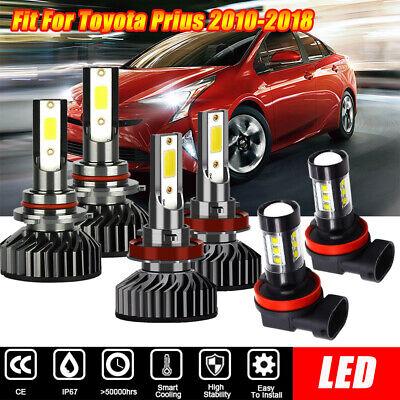 6X 6000K White COB LED Headlight  Fog Light Kit For Toyota Prius 2010-2018