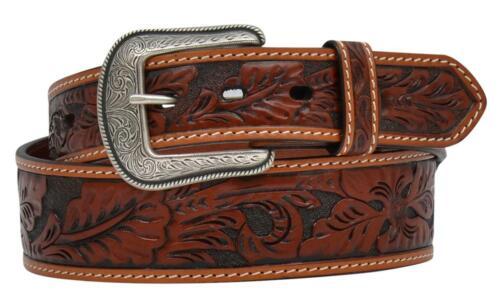 3D Western Mens Belt Leather Tooled Floral Taper Tan D7013