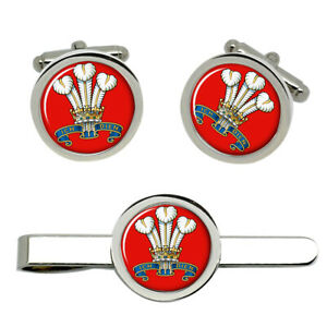 Prince-Of-Wales-039-s-Division-British-Army-Cufflinks-and-Tie-Clip-Set