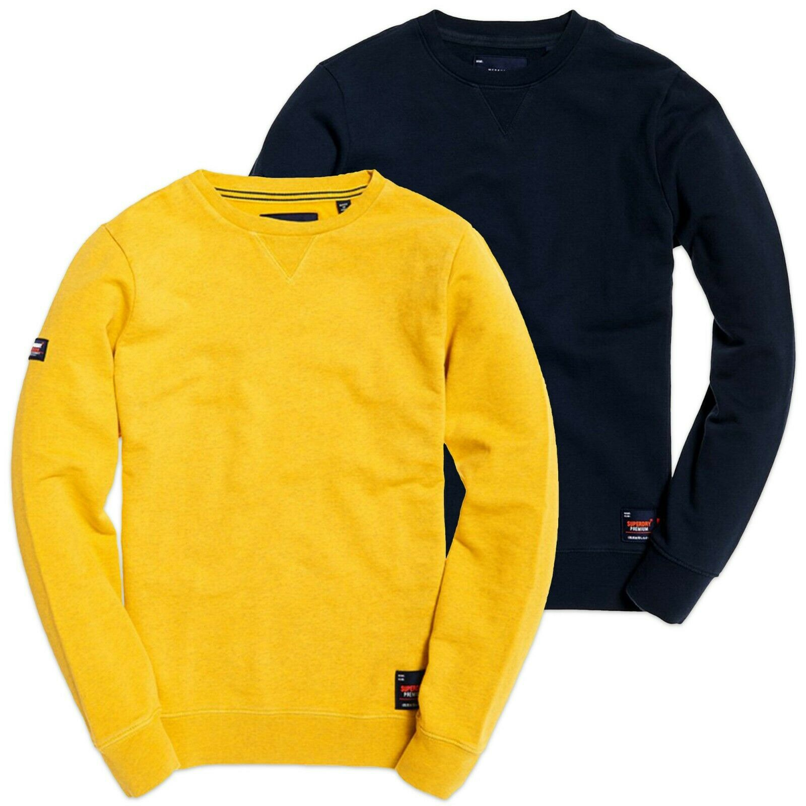 Superdry Sweatshirt - Superdry Dry Originals Crew Sweat - Navy, Yellow - BNWT