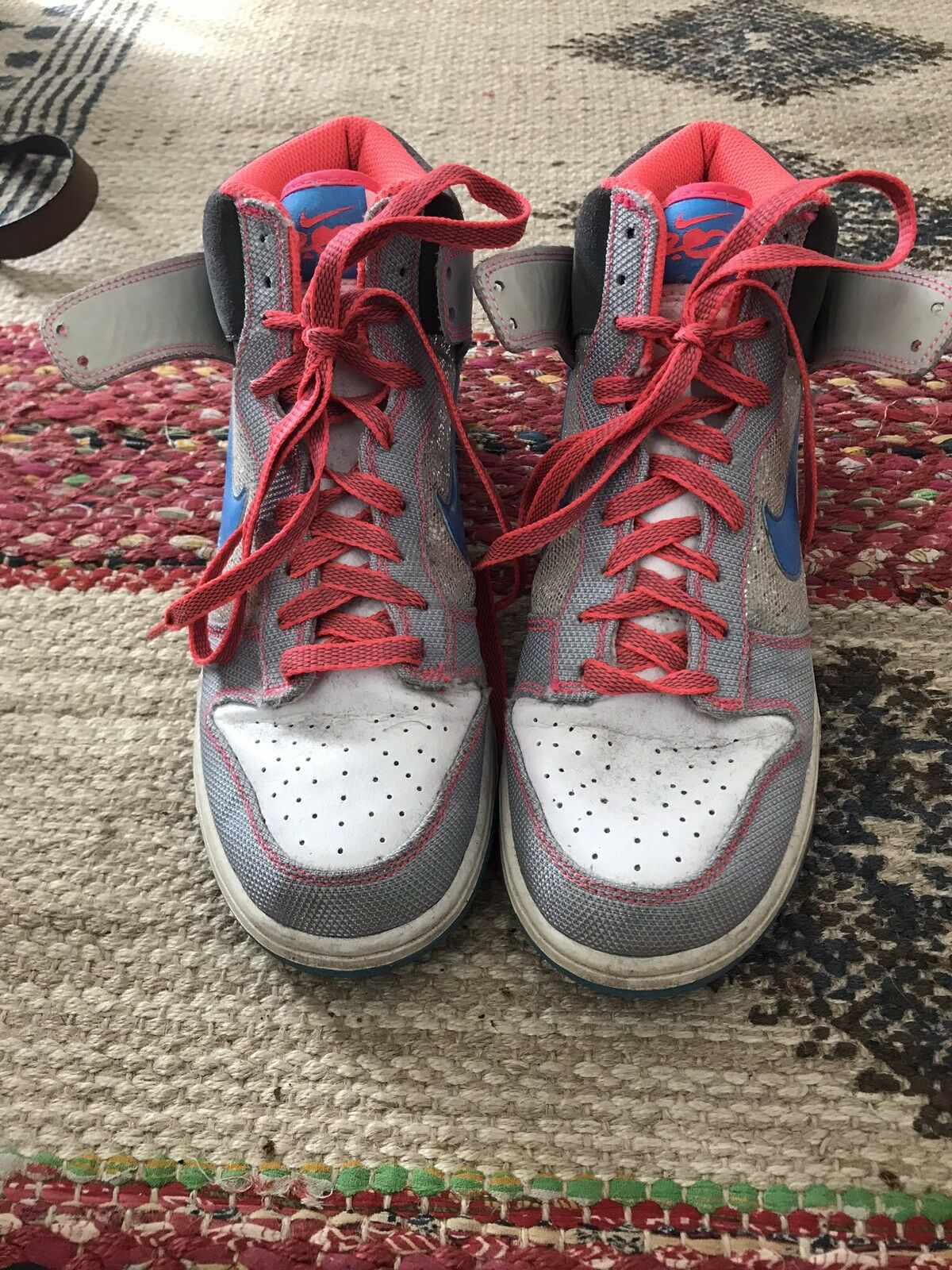 Girls Nike Dunk Hightops 6.0 High 8 GS Silver Shoes Sneakers Basketball Sparkle