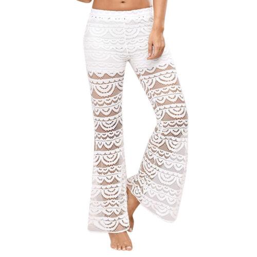 Women Bottoms Flare Trousers Ladies Mid Waist Wide Leg Long Yoga Slim Pants L