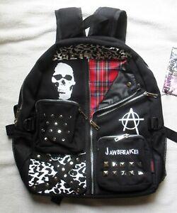 Punk-Studded-Bag-Backpack-Black-Tartan-Plaid-School-College