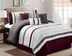 7-Pieces-Oversize-Luxury-Stripe-Bed-in-Bag-Soft-Comforter-Set-Purple-Queen-Size