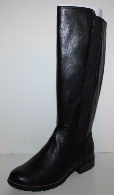 GH Bass NIB Women 6.5 7.5 8 8.5 Derica Black Faux Leather Riding Boots w Stretch