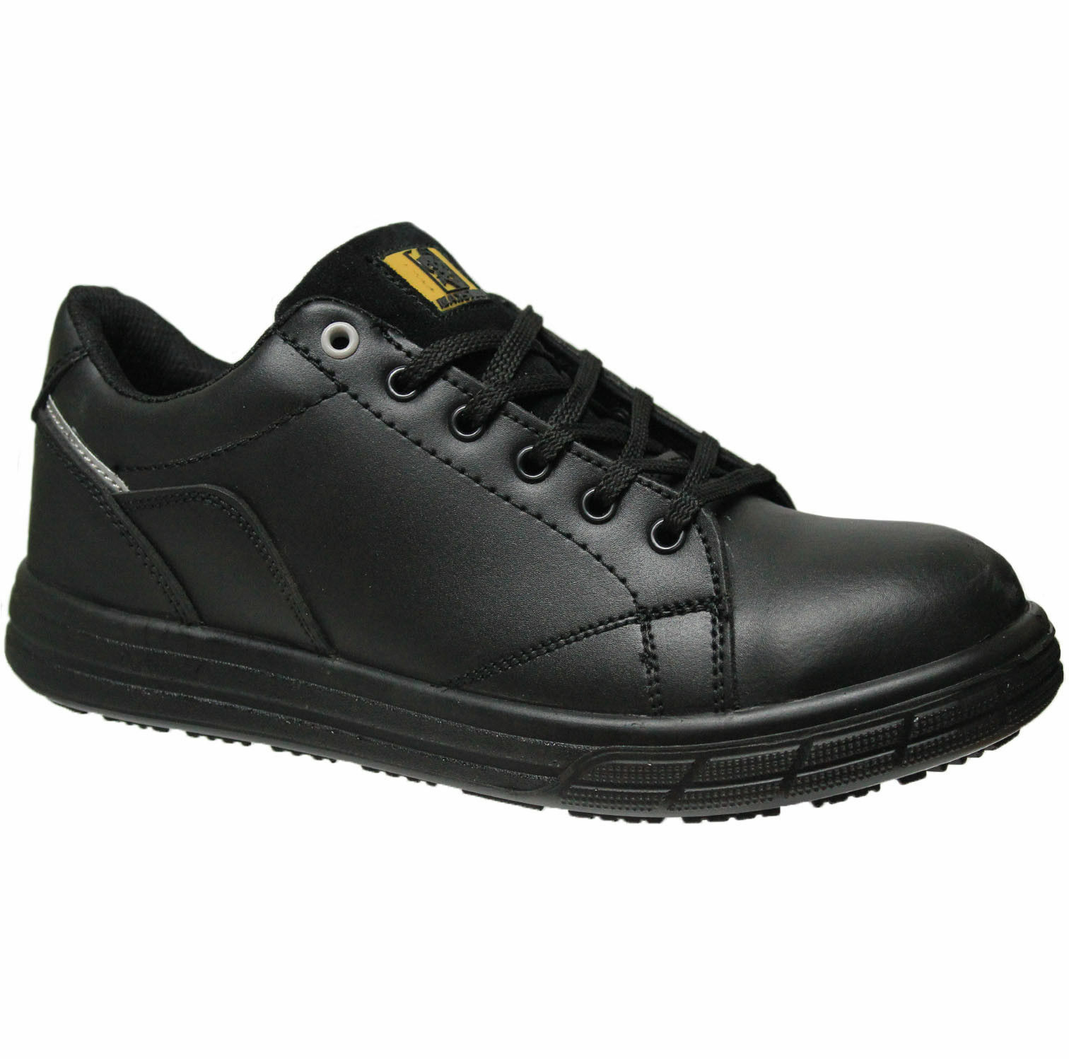 MENS BLACK LEATHER LIGHT WEIGHT SKATER WORK SAFETY STEEL TOE CAP TRAINERS SZ8