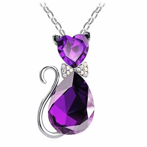HK Fashion Women Crystal Rhinestone Cat Chain Pendant Necklace Charm Jewelry Gr