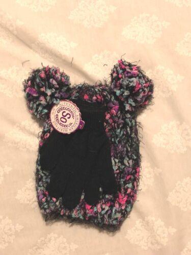 4-7 S So Girls Pom Pom Knit Hat /& Glove Set; Space Dye//Multi Color//Metallic,