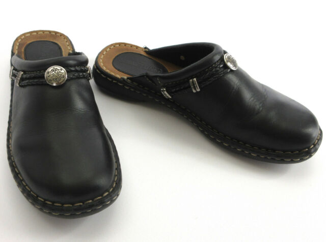 Minnetonka 8 Mules Black Leather Braid Silver Tone Concho Clogs Shoes 6060