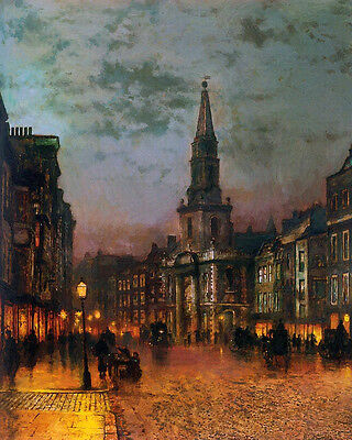 """Wonderful Oil painting cityscape in evening with great building carriages 36"""""""