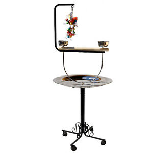 parrot perch pet bird perch play stand stainless steel with toy hook ebay. Black Bedroom Furniture Sets. Home Design Ideas
