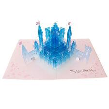 Happy Birthday Crystal Laser Cut Castle Pop Up Greeting Card