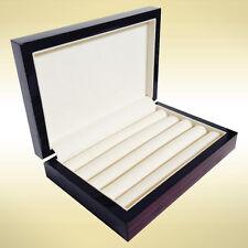 Wood Cufflink Case Ring Storage Box Cuff Links Mens Jewelry Display Ebony 4091eb