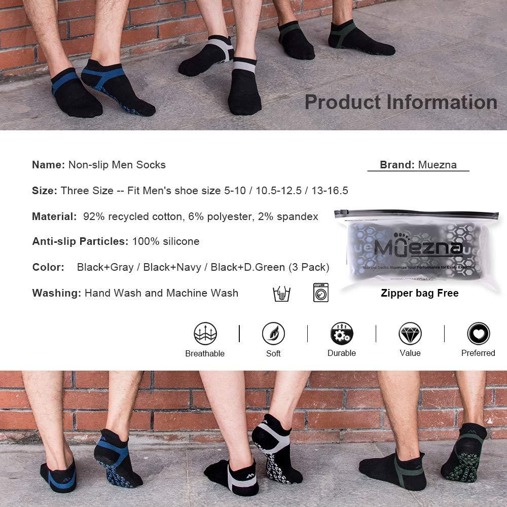 Barre Muezna Mens Non-Slip Yoga Socks Anti-Skid Pilates Bikram Fitness Hospital Slipper Socks with Grips