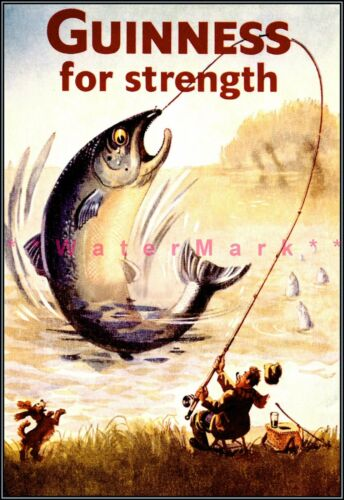 Details about  /Fishing Fisherman Guinness For Strength Vintage Poster Print Classic Beer Ad