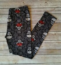 Skull Rose Print Leggings Day of the Dead Floral Black ONE SIZE OS
