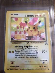 Nm-MINT-Pokemon-039-s-BIRTHDAY-PIKACHU-BLACK-STAR-PROMO-Set-24-Holo-WOTC-PSA-RDY