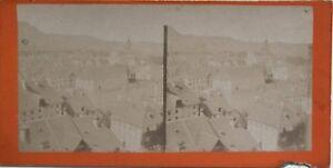 Suisse Panorama Ville? Fotografia Stereo Vintage Albumina c1870