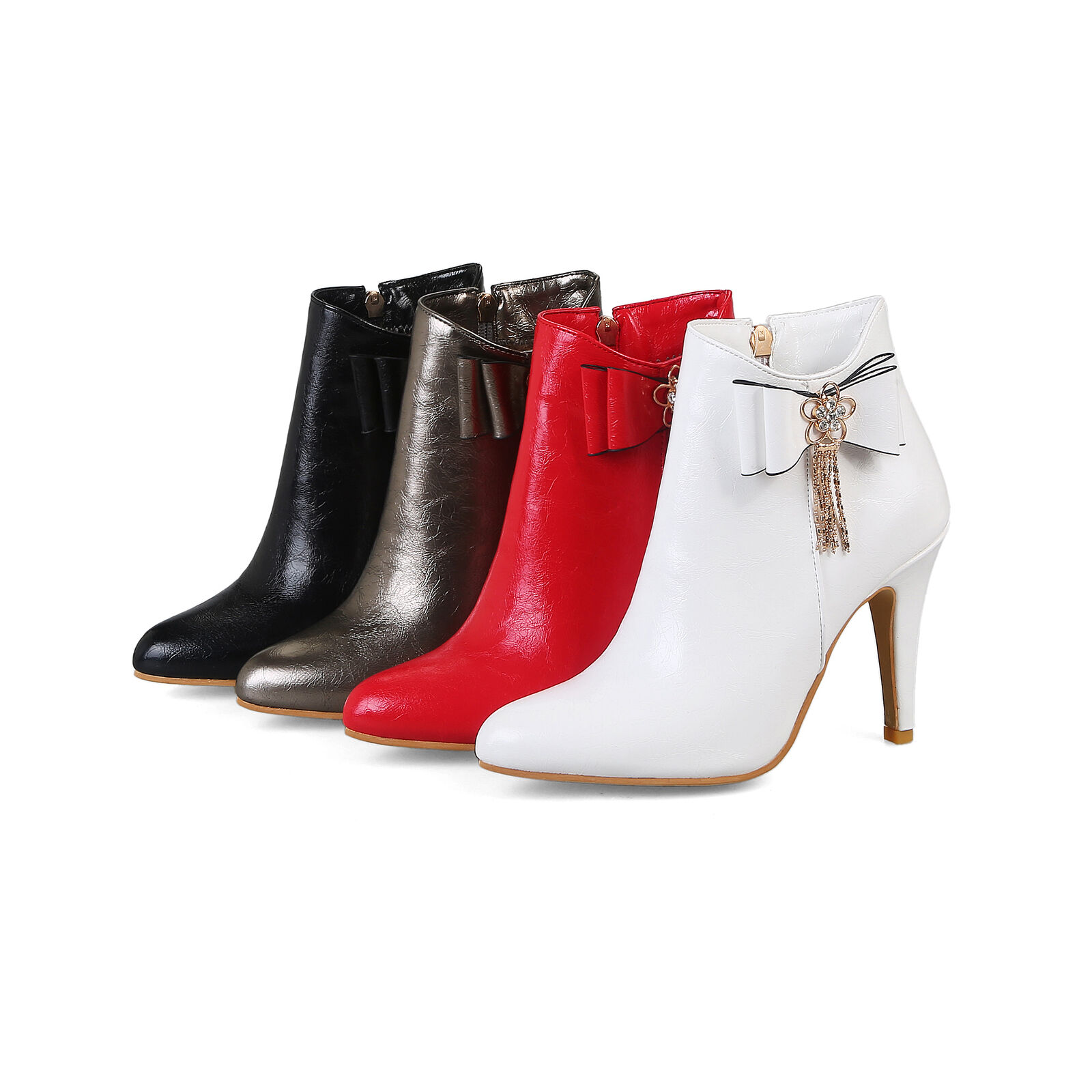 Women's Zip High Heel Ankle Boots Synthetic Leather Pointed Plus Size shoes O025