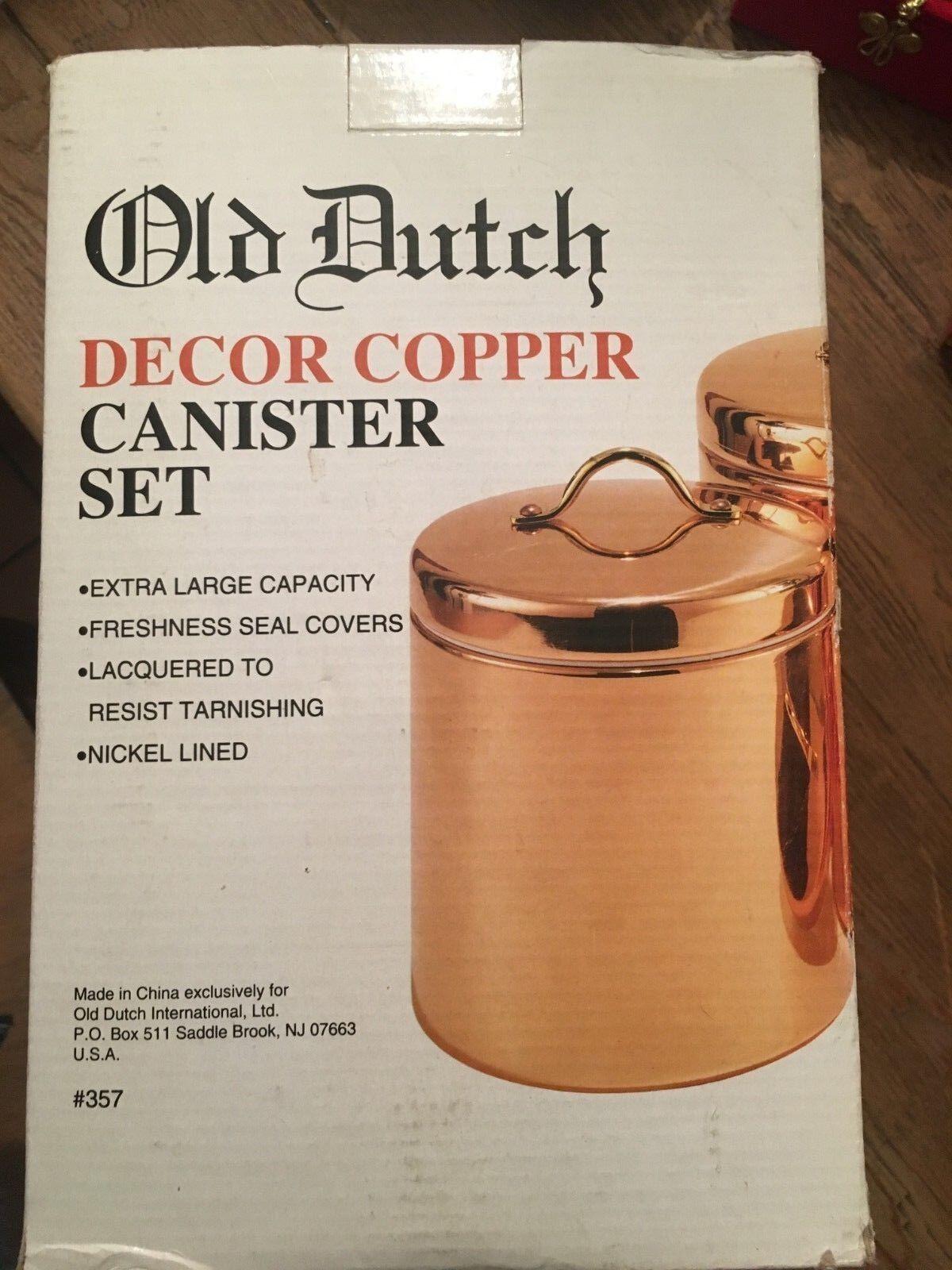 Old Dutch 4 Pièce Cuivre Canister Set New In Box jamais ouvert