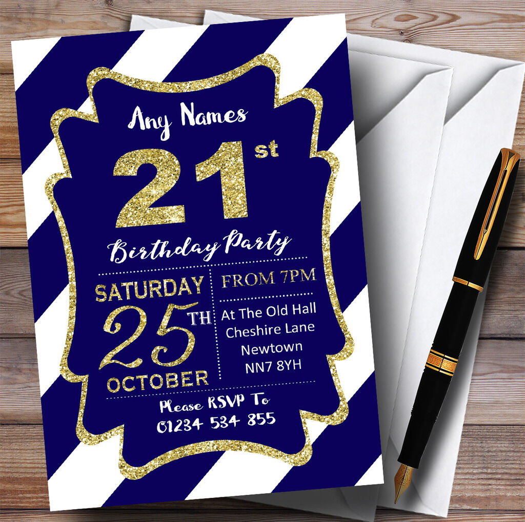 bluee White Diagonal Stripes gold 21st Personalised Birthday Party Invitations