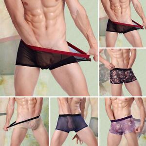 SEXY-HOMMES-Sous-vetement-boxer-slip-culotte-calecons-short-Transparent-Taille