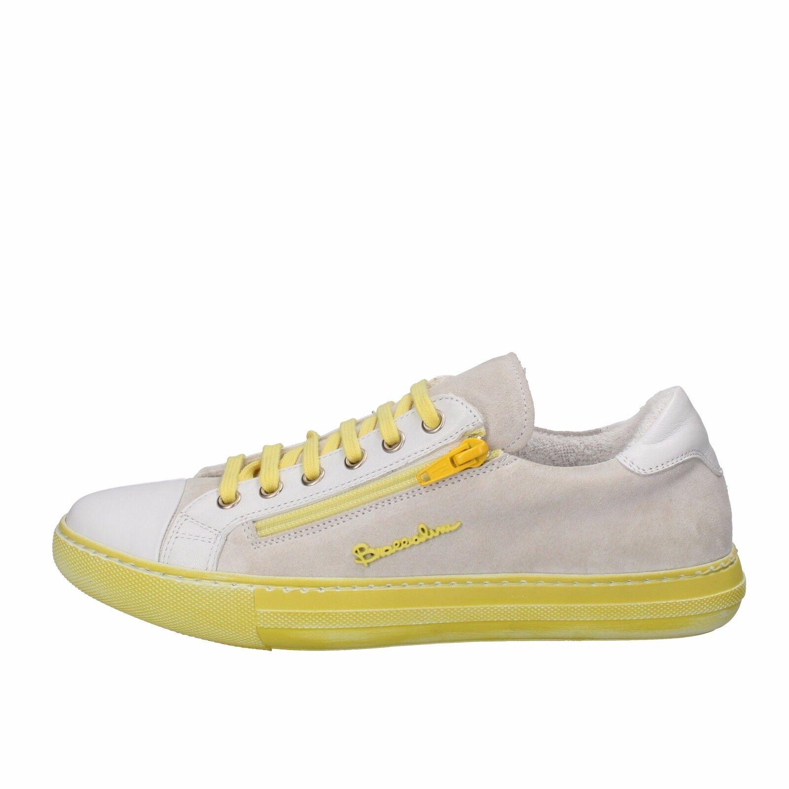 scarpe giallo donna BRACCIALINI 36 sneakers giallo scarpe bianco camoscio pelle AH368-B b0c444