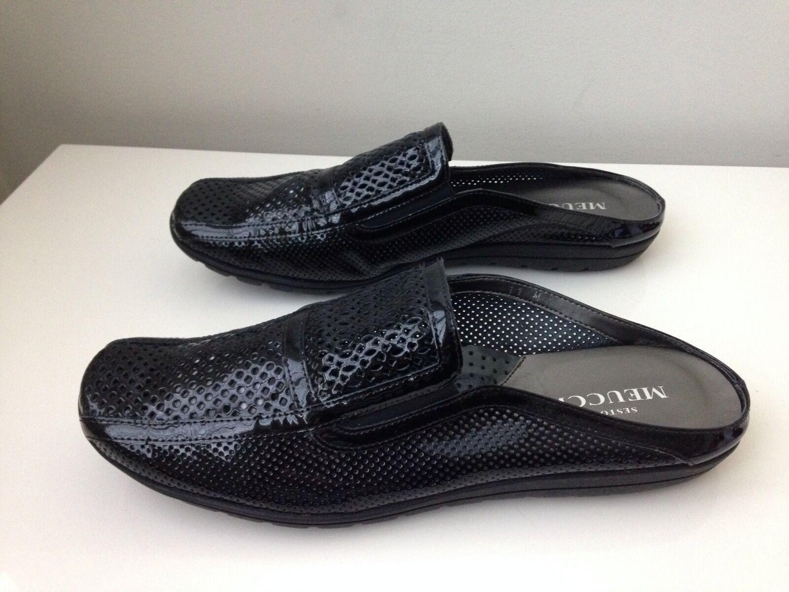 $284 Sesto Meucci Janice Black Patent Slip On backless Shoe - SIZE US 11 - NEW
