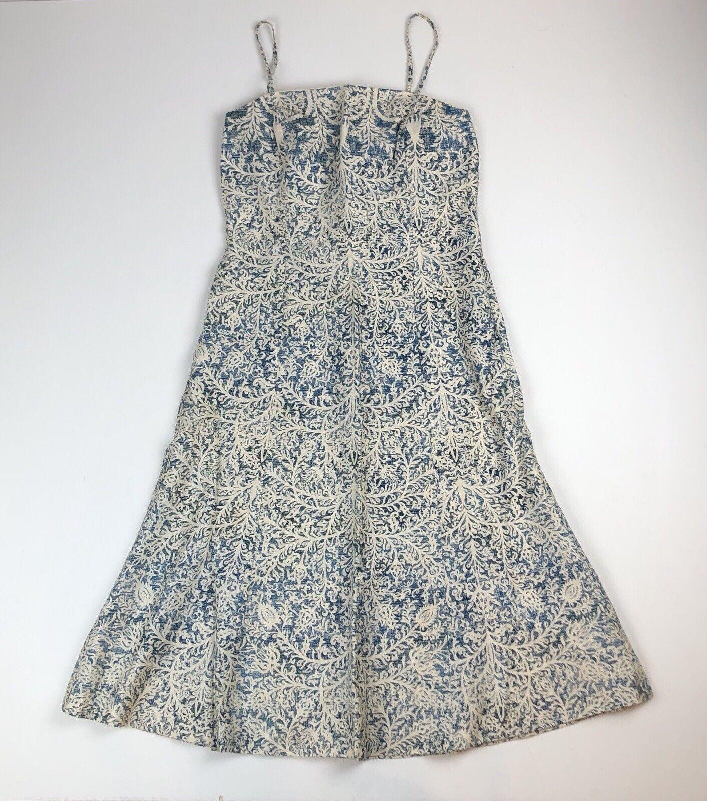 PERUVIAN CONNECTION bluees & Cream Floral Print Dress w Spaghetti Straps Sz 8