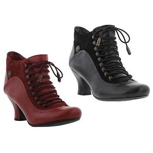 4bb1c018be24 Hush Puppies Vivianna Womens Block Heel Black Red Leather Ankle ...