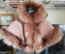 Bebé Niña Largo Fluffy Abrigo de piel sintética con capucha de invierno Cape Poncho XS 6-18 meses