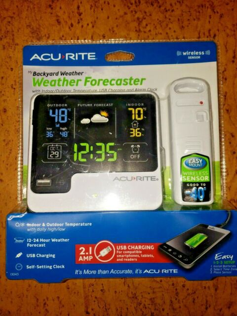 ACURITE 13043 Backyard Weather Forecaster with Wireless Sensor, Alarm Clock, USB