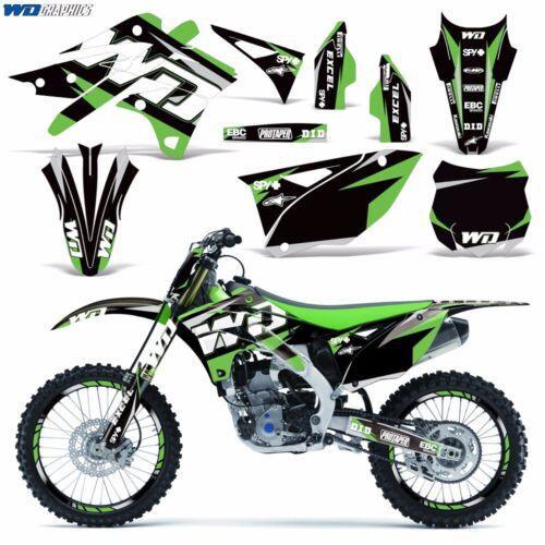 Graphic Kit Kawasaki KX250F Dirt Bike KX 250 F MX Moto with Backgrounds 13-16 WD