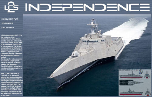 USS LCS-2 INDEPENDENCE RC Model Boat Plans Pattern CNC Laser ScrollSaw