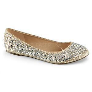 78c5a80216fc Details about Gold Rhinestone Ballet Flats Comfortable Bridal Wedding After Prom  Shoes 8 9 10