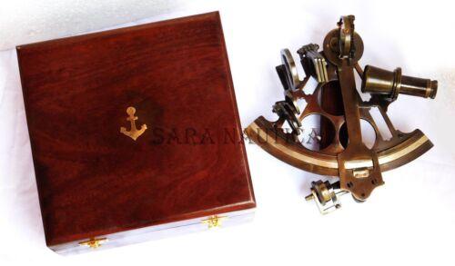 "Nautical Marine Astrolabe Ships with Hardwood Box 9/"" Heavy Brass Sextant"