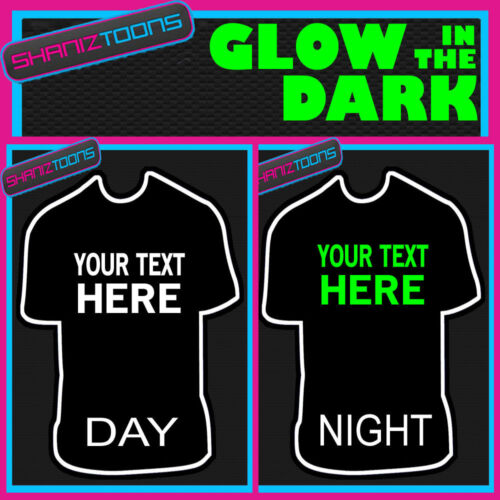 PERSONALISED GLOW IN THE DARK TSHIRT HALLOWEEN GOTH OWN DESIGN