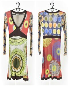 Womens-Desigual-Acetate-Dress-Multicolor-Long-Sleeve-V-Neck-Abstract-Size-XS